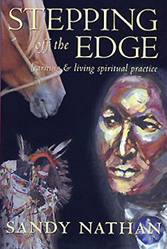 The cover of Stepping Off the Edge. Bill Miller's Portrait and dancer Stanley Bell at the Gathering are shown on this cover.