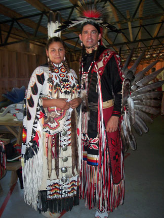 Head Lady Dancer, Siouxsan Robinson (Lakota Blackfoot), & Head Man Dancer, Charles Robinson (Choctaw) at the Gathering 2007.